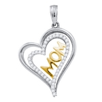 10kt Gold Round Diamond Mom Mother Heart Pendant 1/5 Cttw