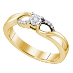 Sterling Silver Round Diamond Band Promise Bridal Engagement Ring 1/20 Cttw