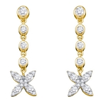 10kt Yellow Gold Round Diamond Flower Cluster Dangle Earrings 3/4 Cttw