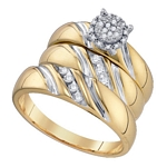 10k Yellow Gold Round Diamond  Matching Trio Wedding Bridal Engagement Ring Band Set 1/5 Cttw