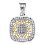 10kt Two-tone Gold Round Diamond Square Pendant 1/6 Cttw