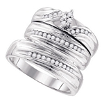 Sterling Silver Round Diamond Cluster Matching Bridal Wedding Ring Band Set 3/8 Cttw