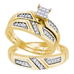 Sterling Silver Princess Diamond Cluster Matching Bridal Wedding Ring Band Set 1/3 Cttw