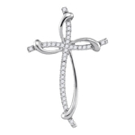 10kt White Gold Round Diamond Slender Curved Open Cross Pendant 1/10 Cttw