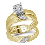 10kt Gold Round Diamond Solitaire Matching Bridal Wedding Ring Band Set 1/5 Cttw