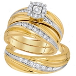 10kt Yellow Gold Round Diamond Solitaire Matching Bridal Wedding Ring Band Set 3/8 Cttw