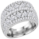 14kt White  Gold Princess Diamond Band Ring 3.00 Cttw