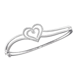 Sterling Silver Round Diamond Double Heart Bangle Bracelet 1/20 Cttw