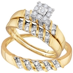 Sterling Silver Diamond Yellow-tone  Matching Trio Wedding Engagement Ring Set 1/7 Cttw