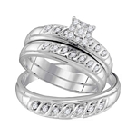 10kt Gold Round Diamond Solitaire Matching Bridal Wedding Ring Band Set 1/3 Cttw