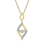 10kt Gold Round Diamond Moving Twinkle Oval Fashion Pendant 1/6 Cttw