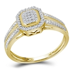 10kt Gold Round Diamond Square Cluster Bridal Wedding Engagement Ring 1/10 Cttw